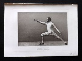 Badminton Library 1893 Sword Fencing Print. Third Position. The Lunge Extension
